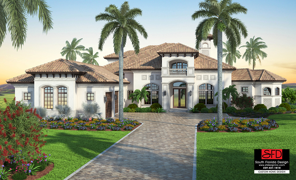 San mateo house plan by south florida design for Luxury mediterranean home designs