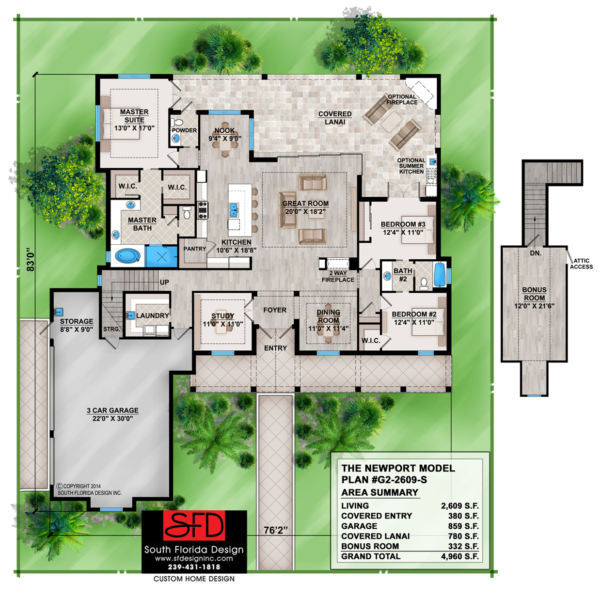 South florida designs olde florida style 3 bedroom house for Old florida home plans