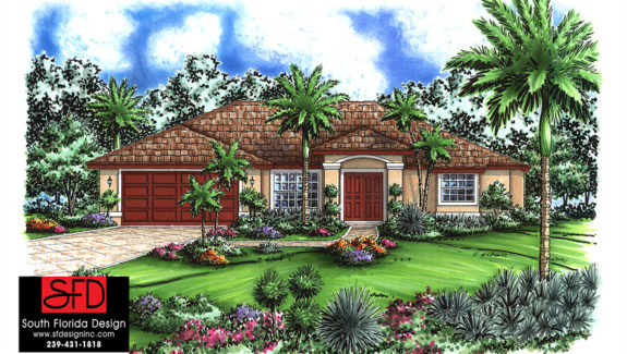 Florida Style 1-Story 3 Bedroom House Plan