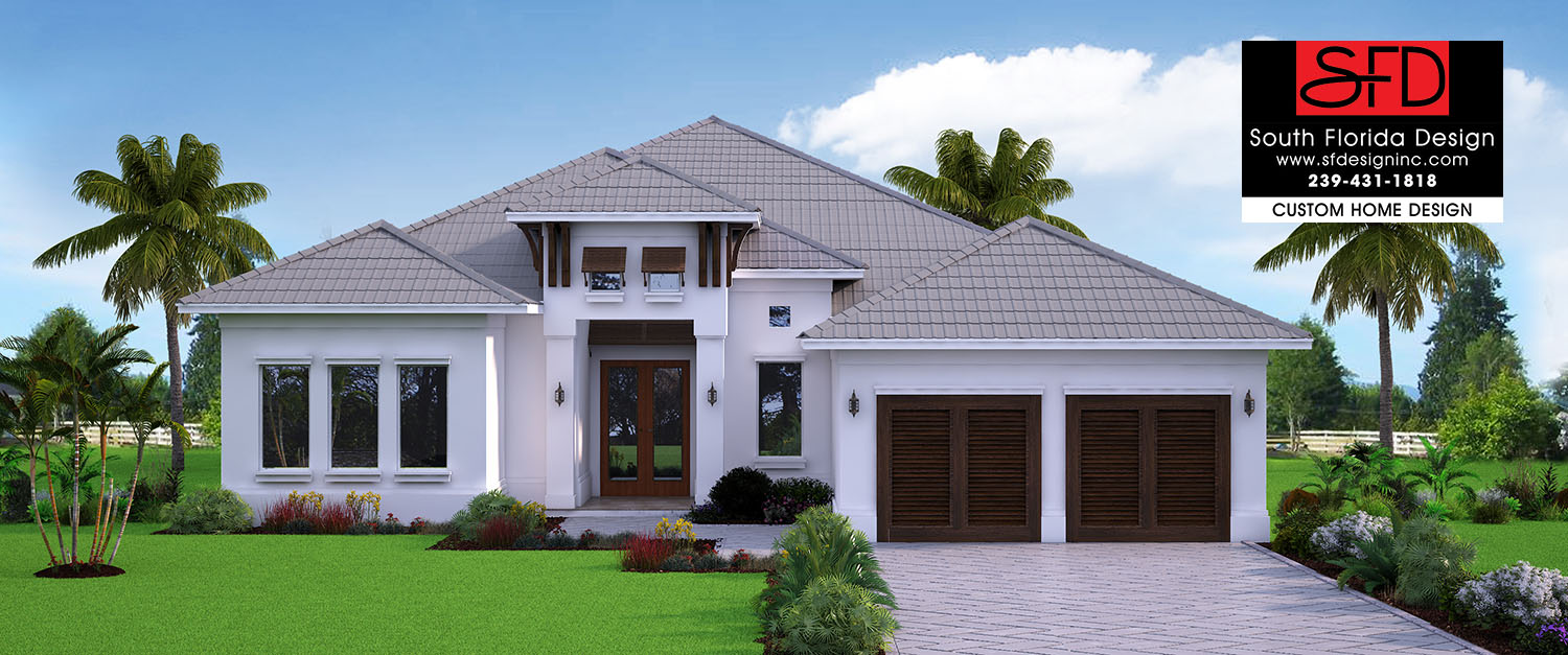 3289sf Coastal Contemporary house plan features 4 bedrooms, 4 baths and a 2 car garage designed by South Florida Design located in Estero, Florida