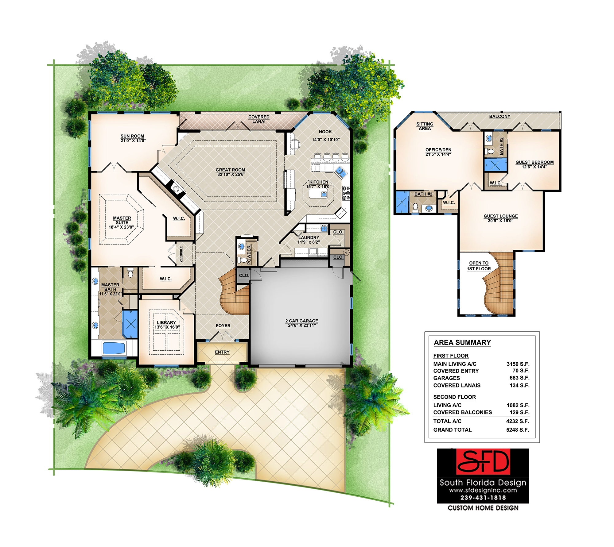 South florida designs 3 bedroom mediterranean 2 story for 2 story great room floor plans