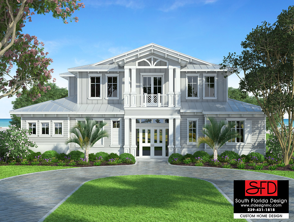 South florida designs waterside 2 story coastal house plan for 3 story home plans and designs