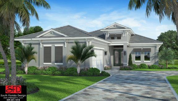 Color front elevation rendering of a 1-story narrow lot house plan