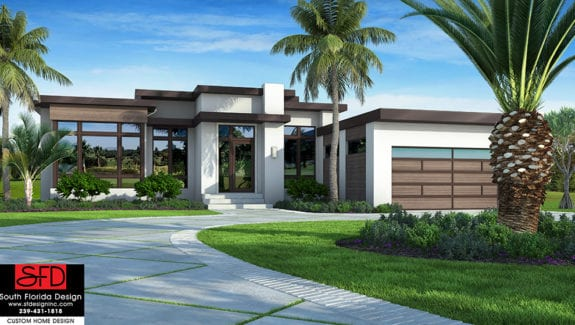 Color front elevation rendering of a modern house plan
