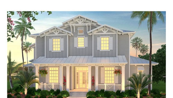 Olde Florida courtyard 2-story house plan features 4 bedrooms, 4 bathrooms, 2 half baths and a 3 car garage created by South Florida Design located in Bonita Springs, FL