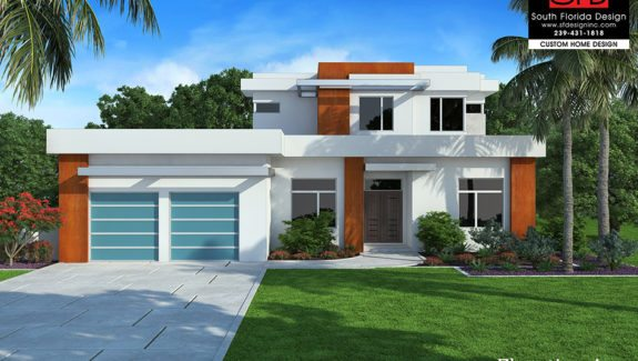 Modern great room house plan features open floor plan, first floor master bedroom, island kitchen and outdoor living space designed by South Florida Design located in Naples, FL