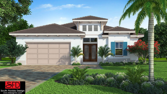 This narrow lot coastal contemporary house plan features a great room, private master bedroom suite and an outdoor living space with kitchen created by South Florida Design located in Bonita Springs, FL
