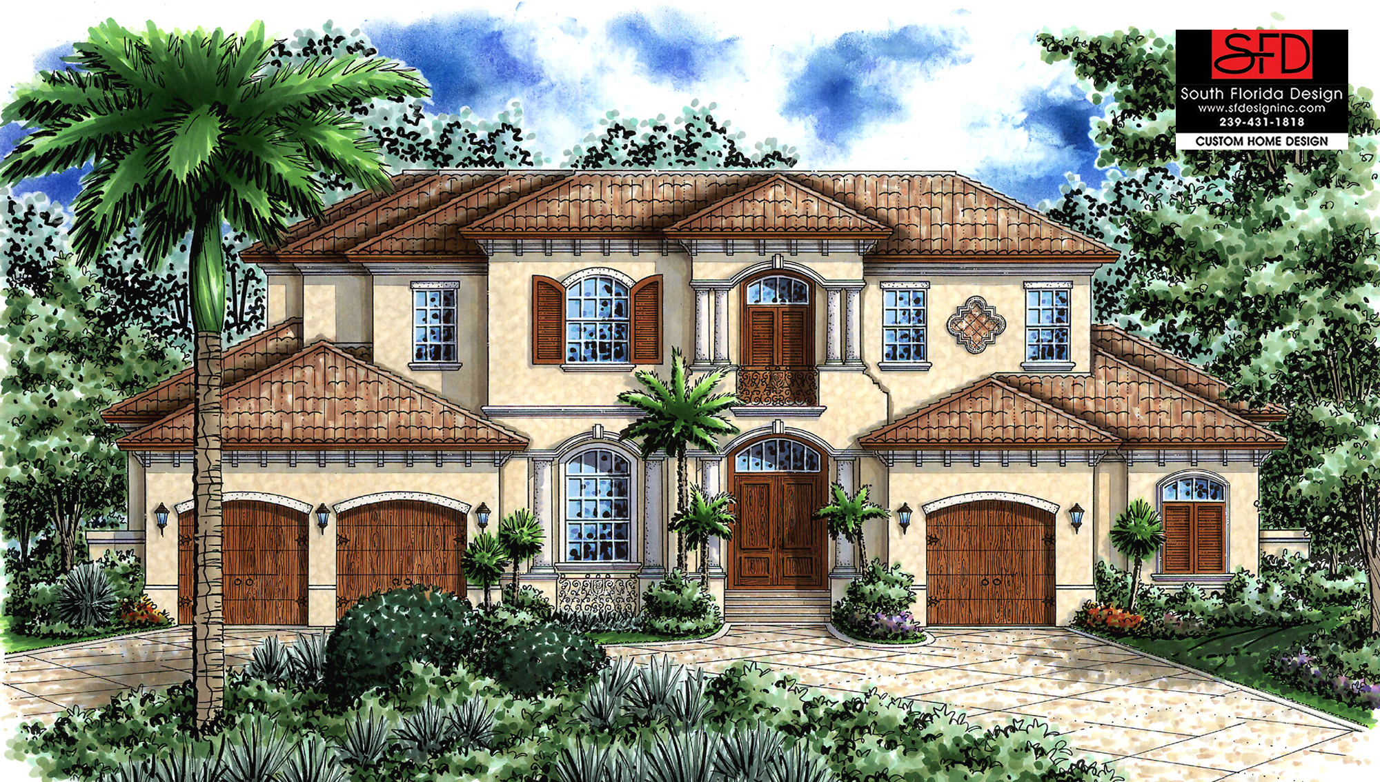 South florida designs spanish style 2 story house plan for Two story florida house plans