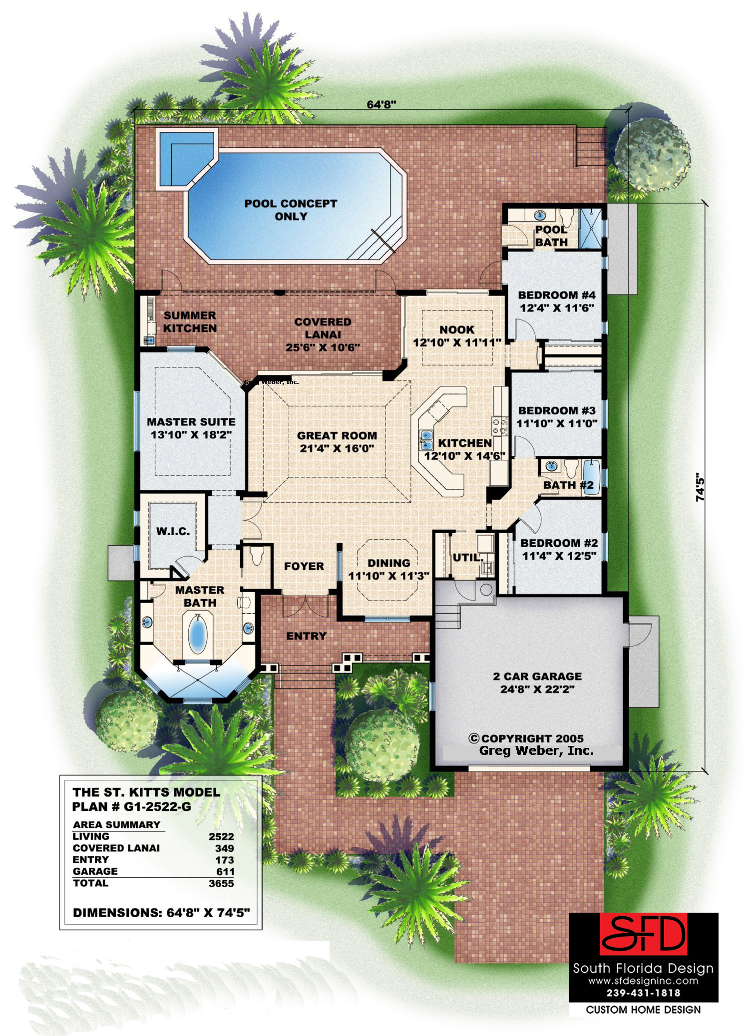 South florida designs tropical one story great room house for Great room floor plans single story