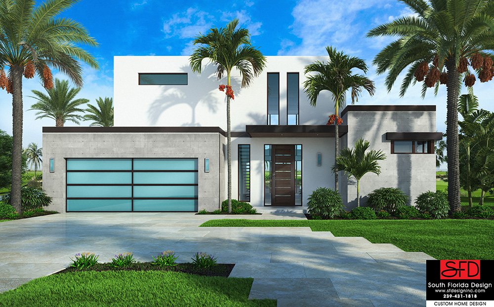 This modern 2-story house plan features 4 bedrooms, 4.5 bathrooms and a 2 car garage created by South Florida Design located in Naples, FL