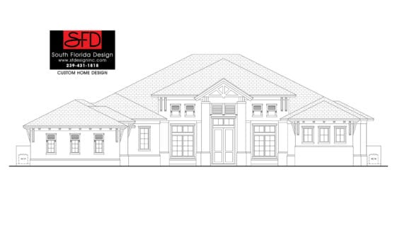Black and white front elevation sketch of a 4,855SF 4 Bedroom House Plan