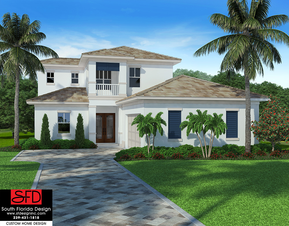This 2-story coastal contemporary house plan features 4 bedrooms, 3 baths and a 2 car garage designed by South Florida Design located in Naples, Florida